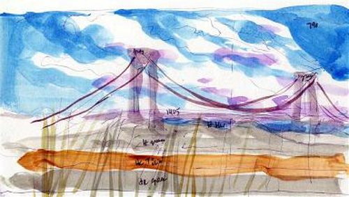 watercolor sketch of Verrazzano Bridge by Carol Crawford