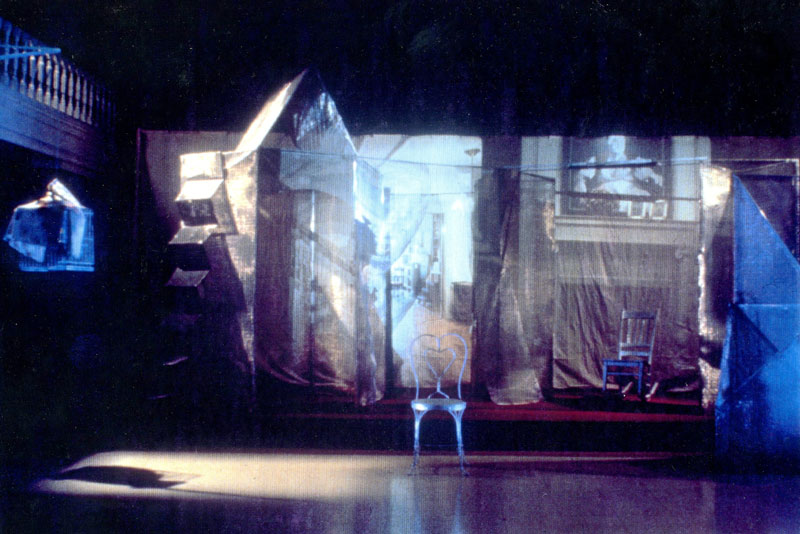 "Katherine Cornell Theater, S.U.N.Y. Buffalo, NY, in theater performance, ""Memory Ghosts""."