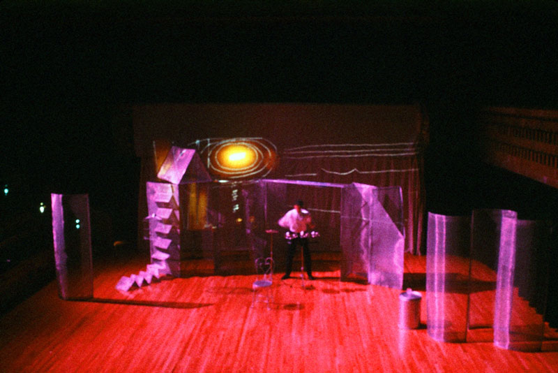 """Memory Ghosts"": Over 100 original photographs were projected onto contructions during performance as a changing setting for dancers and musicians."